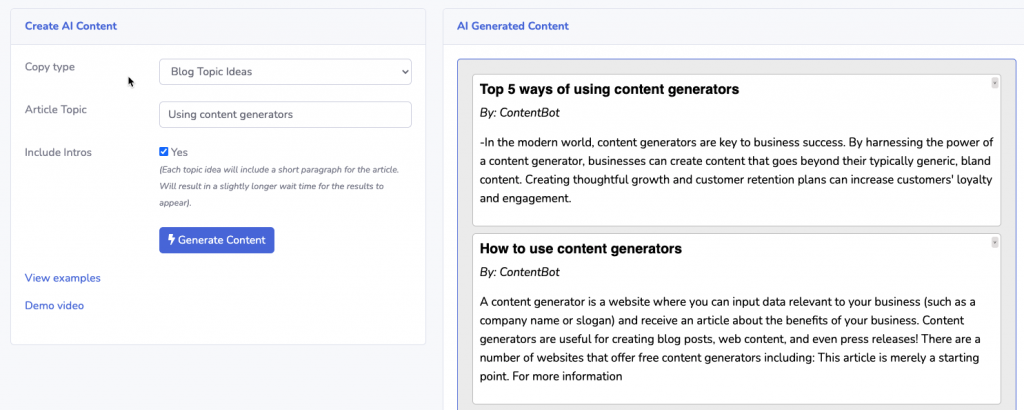 ContentBot.ai Blog Topic Suggestions